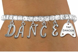 """<Br> EXCLUSIVELY OURS!!<Br> AN ALLAN ROBIN DESIGN!!<Br> LEAD & NICKEL FREE!! <Br>W19512B - CLEAR CRYSTAL """"TAP DANCER"""" <BR> """"DANCE"""" THEMED CHARM BRACELET <BR> FOR $11.26"""