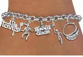 <Br>                   EXCLUSIVELY OURS!!<Br>              AN ALLAN ROBIN DESIGN!!<Br>         LEAD,CADIUM, & NICKEL FREE!! <Br>     W19544B - SILVER TONE TENNIS <BR>     THEMED FIVE CHARM BRACELET <BR>        FROM $7.31 TO $16.25  �2012