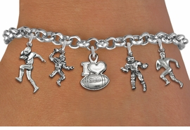 <Br>              EXCLUSIVELY OURS!!<Br>        AN ALLAN ROBIN DESIGN!!<Br>             LEAD & NICKEL FREE!! <Br>W19550B - SILVER TONE FOOTBALL <BR>     THEMED FIVE CHARM BRACELET <BR>        FROM $7.31 TO $16.25  �2012