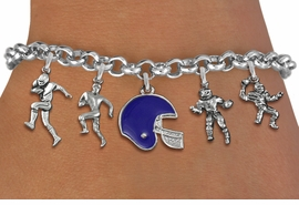 <Br>              EXCLUSIVELY OURS!!<Br>        AN ALLAN ROBIN DESIGN!!<Br>             LEAD & NICKEL FREE!! <Br>W19551B - SILVER TONE FOOTBALL <BR>     THEMED FIVE CHARM BRACELET <BR>    WITH CUSTOM COLORED HELMET <BR>        FROM $7.31 TO $16.25  �2012
