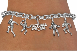 <Br>              EXCLUSIVELY OURS!!<Br>        AN ALLAN ROBIN DESIGN!!<Br>             LEAD & NICKEL FREE!! <Br>W19558B - SILVER TONE FOOTBALL <BR>MOM THEMED FIVE CHARM BRACELET <BR>        FROM $7.31 TO $16.25  �2012
