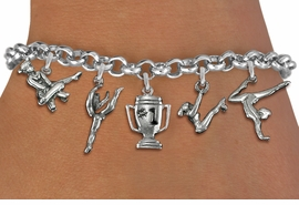 <Br>              EXCLUSIVELY OURS!!<Br>        AN ALLAN ROBIN DESIGN!!<Br>             LEAD & NICKEL FREE!! <Br>W19562B - SILVER TONE GYMNASTICS <BR>     THEMED FIVE CHARM BRACELET  <br>       AS LOW AS $8.61