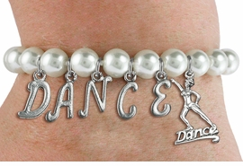 "<Br> EXCLUSIVELY OURS!!<Br> AN ALLAN ROBIN DESIGN!!<Br> LEAD & NICKEL FREE!! <Br>W19575B - 8MM WHITE PEARL ""DANCE"" <BR> DANCER THEMED CHARM BRACELET <BR> FOR $10.60"