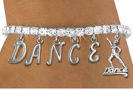 "<Br> EXCLUSIVELY OURS!!<Br> AN ALLAN ROBIN DESIGN!!<Br> LEAD & NICKEL FREE!! <Br>W19576B - AUSTRIAN CRYSTAL ""DANCE"" <BR>DANCER THEMED CHARM BRACELET <BR> FOR $11.26"