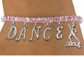 "<Br>              EXCLUSIVELY OURS!!<Br>        AN ALLAN ROBIN DESIGN!!<Br>             LEAD & NICKEL FREE!!  <Br>W19577B - ROSE TINTED CRYSTAL ""DANCE"" <BR>DANCER THEMED CHARM BRACELET  <BR>     FROM $9.56 TO $21.25  �2012"