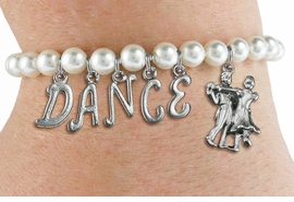 "<Br>              EXCLUSIVELY OURS!!<Br>        AN ALLAN ROBIN DESIGN!!<Br>             LEAD & NICKEL FREE!! <Br>W19597B - 6MM WHITE PEARL ""DANCE"" <BR> BALL ROOM THEMED CHARM BRACELET  <BR>     FROM $8.44 TO $18.75  �2012"