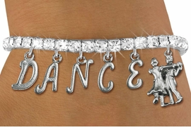 "<Br>              EXCLUSIVELY OURS!!<Br>        AN ALLAN ROBIN DESIGN!!<Br>             LEAD & NICKEL FREE!! <Br>W19599B - AUSTRIAN CRYSTAL ""DANCE"" <BR>BALL ROOM THEMED CHARM BRACELET  <BR>     FROM $9.56 TO $21.25  �2012"