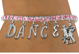 "<Br>              EXCLUSIVELY OURS!!<Br>        AN ALLAN ROBIN DESIGN!!<Br>             LEAD & NICKEL FREE!! <Br>W19600B - ROSE TINTED CRYSTAL ""DANCE"" <BR>BALL ROOM THEMED CHARM BRACELET  <BR>     FROM $9.56 TO $21.25  �2012"