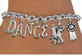 "<Br>              EXCLUSIVELY OURS!!<Br>        AN ALLAN ROBIN DESIGN!!<Br>             LEAD & NICKEL FREE!! <Br>W19602B - SILVER TONE ""DANCE"" <BR>1st PLACE BALL ROOM THEMED CHARM <BR>BRACELET FROM $9.56 TO $21.25  �2012"