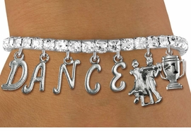 "<Br>              EXCLUSIVELY OURS!!<Br>        AN ALLAN ROBIN DESIGN!!<Br>             LEAD & NICKEL FREE!! <Br>W19605B - AUSTRIAN CRYSTAL ""DANCE"" <BR>1st PLACE BALL ROOM THEMED CHARM <BR>BRACELET FROM $10.69 TO $23.75 �2012"