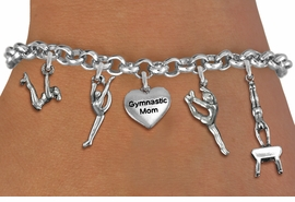 <Br>              EXCLUSIVELY OURS!!<Br>        AN ALLAN ROBIN DESIGN!!<Br>             LEAD & NICKEL FREE!! <Br>W19607B - SILVER TONE GYMNASTICS <BR>MOM THEMED FIVE CHARM BRACELET  <br>       AS LOW AS $8.61
