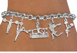 <Br>              EXCLUSIVELY OURS!!<Br>        AN ALLAN ROBIN DESIGN!!<Br>    LEAD, CADMIUM, & NICKEL FREE!! <Br>W19741B - SILVER TONE CHEERLEADING <BR>     THEMED FIVE CHARM BRACELET <BR>        FROM $7.31 TO $16.25  �2012