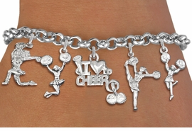 <Br>                  EXCLUSIVELY OURS!!<Br>            AN ALLAN ROBIN DESIGN!!<Br>    LEAD, CADMIUM, & NICKEL FREE!! <Br>W19742B - SILVER TONE CHEERLEADING <BR>     THEMED FIVE CHARM BRACELET <BR>        FROM $7.31 TO $16.25  �2012