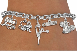 <Br>                  EXCLUSIVELY OURS!!<Br>            AN ALLAN ROBIN DESIGN!!<Br>    LEAD, CADMIUM, & NICKEL FREE!! <Br>W19743B - SILVER TONE CHEERLEADING <BR>     THEMED FIVE CHARM BRACELET <BR>        FROM $7.31 TO $16.25  �2012