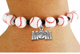 "<Br>                  EXCLUSIVELY OURS!!<Br>            AN ALLAN ROBIN DESIGN!!<Br>                 LEAD & NICKEL FREE!! <Br>W19930B - WHITE STRETCH BASEBALL <BR>   THEMED CHARM BRACELET WITH A<BR> ""BASEBALL MOM"" SILVER TONE CHARM <BR>      FROM $6.19 TO $13.75 �2012"