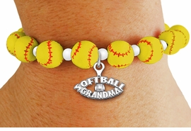 "<Br>                  EXCLUSIVELY OURS!!<Br>            AN ALLAN ROBIN DESIGN!!<Br>                 LEAD & NICKEL FREE!! <BR>W19932B - YELLOW STRETCH SOFTBALL <BR>   THEMED CHARM BRACELET WITH A<BR> ""SOFTBALL GRANDMA"" SILVER TONE CHARM <BR>      FROM $6.19 TO $13.75 �2012"