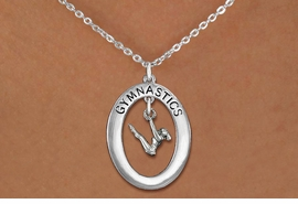 "<bR>                   EXCLUSIVELY OURS!! <BR>              AN ALLAN ROBIN DESIGN!!<BR>                 LEAD & NICKEL FREE!! <BR> W19962N -  SILVER TONE ""GYMNASTICS"" <BR>    OVAL WITH GYMNAST ON UNEVEN BARS<BR>      CHARM ON CHAIN LINK NECKLACE <BR>            FROM $6.41 TO $14.25 �2013"