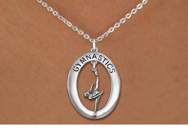 "<bR>                   EXCLUSIVELY OURS!! <BR>              AN ALLAN ROBIN DESIGN!!<BR>                 LEAD & NICKEL FREE!! <BR> W19965N -  SILVER TONE ""GYMNASTICS"" <BR>     OVAL WITH ONE LEG POSE GYMNAST <BR>     CHARM ON CHAIN LINK NECKLACE <BR>            FROM $6.41 TO $14.25 �2013"