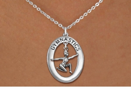 "<bR>                   EXCLUSIVELY OURS!! <BR>              AN ALLAN ROBIN DESIGN!!<BR>                 LEAD & NICKEL FREE!! <BR> W19966N -  SILVER TONE ""GYMNASTICS"" <BR>      OVAL WITH FLOOR POSED GYMNAST <BR>       CHARM ON CHAIN LINK NECKLACE <BR>            FROM $6.41 TO $14.25 �2013"