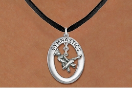 "<bR>                   EXCLUSIVELY OURS!! <BR>              AN ALLAN ROBIN DESIGN!!<BR>                 LEAD & NICKEL FREE!! <BR> W19969N -  SILVER TONE ""GYMNASTICS"" <BR>    OVAL WITH POMMEL HORSE GYMNAST <BR>     CHARM ON BLACK SUEDE NECKLACE <BR>            FROM $6.41 TO $14.25 �2013"