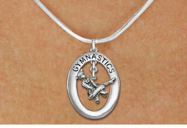 "<bR>                   EXCLUSIVELY OURS!! <BR>              AN ALLAN ROBIN DESIGN!!<BR>                 LEAD & NICKEL FREE!! <BR> W19970N -  SILVER TONE ""GYMNASTICS"" <BR>    OVAL WITH POMMEL HORSE GYMNAST <BR>     CHARM ON SNAKE CHAIN NECKLACE <BR>            FROM $6.41 TO $14.25 �2013"
