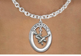 "<bR>                   EXCLUSIVELY OURS!! <BR>              AN ALLAN ROBIN DESIGN!!<BR>                 LEAD & NICKEL FREE!! <BR> W19971N -  SILVER TONE ""GYMNASTICS"" <BR>    OVAL WITH POMMEL HORSE GYMNAST <BR>    CHARM ON TOGGLE CHAIN NECKLACE <BR>            FROM $6.41 TO $14.25 �2013"