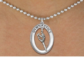 "<bR>                   EXCLUSIVELY OURS!! <BR>              AN ALLAN ROBIN DESIGN!!<BR>                 LEAD & NICKEL FREE!! <BR> W19972N -  SILVER TONE ""GYMNASTICS"" <BR>   OVAL WITH LEAPING POSE GYMNAST <BR>     CHARM ON BALL CHAIN NECKLACE <BR>            FROM $6.41 TO $14.25 �2013"