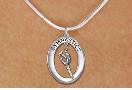 "<bR>                   EXCLUSIVELY OURS!! <BR>              AN ALLAN ROBIN DESIGN!!<BR>                 LEAD & NICKEL FREE!! <BR> W19974N -  SILVER TONE ""GYMNASTICS"" <BR>   OVAL WITH LEAPING POSE GYMNAST <BR>    CHARM ON SNAKE CHAIN NECKLACE <BR>            FROM $6.41 TO $14.25 �2013"