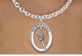 "<bR>                   EXCLUSIVELY OURS!! <BR>              AN ALLAN ROBIN DESIGN!!<BR>                 LEAD & NICKEL FREE!! <BR> W19975N -  SILVER TONE ""GYMNASTICS"" <BR>   OVAL WITH LEAPING POSE GYMNAST <BR>   CHARM ON TOGGLE CHAIN NECKLACE <BR>            FROM $6.41 TO $14.25 �2013"