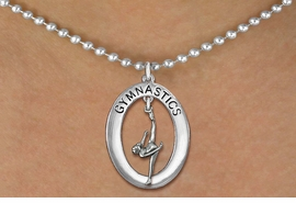 "<bR>                   EXCLUSIVELY OURS!! <BR>              AN ALLAN ROBIN DESIGN!!<BR>                 LEAD & NICKEL FREE!! <BR> W19976N -  SILVER TONE ""GYMNASTICS"" <BR>     OVAL WITH ONE LEG POSE GYMNAST <BR>      CHARM ON BALL CHAIN NECKLACE <BR>            FROM $6.41 TO $14.25 �2013"