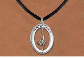 "<bR>                   EXCLUSIVELY OURS!! <BR>              AN ALLAN ROBIN DESIGN!!<BR>                 LEAD & NICKEL FREE!! <BR> W19977N -  SILVER TONE ""GYMNASTICS"" <BR>     OVAL WITH ONE LEG POSE GYMNAST <BR>     CHARM ON BLACK SUEDE NECKLACE <BR>            FROM $6.41 TO $14.25 �2013"