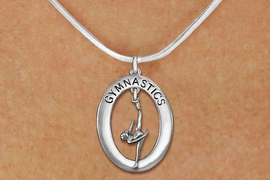 "<bR>                   EXCLUSIVELY OURS!! <BR>              AN ALLAN ROBIN DESIGN!!<BR>                 LEAD & NICKEL FREE!! <BR> W19978N -  SILVER TONE ""GYMNASTICS"" <BR>     OVAL WITH ONE LEG POSE GYMNAST <BR>      CHARM ON SNAKE CHAIN NECKLACE <BR>            FROM $6.41 TO $14.25 �2013"