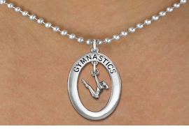 "<bR>                   EXCLUSIVELY OURS!! <BR>              AN ALLAN ROBIN DESIGN!!<BR>                 LEAD & NICKEL FREE!! <BR> W19980N -  SILVER TONE ""GYMNASTICS"" <BR>    OVAL WITH GYMNAST ON UNEVEN BARS<BR>      CHARM ON BALL CHAIN NECKLACE <BR>            FROM $6.41 TO $14.25 �2013"