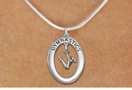 "<bR>                   EXCLUSIVELY OURS!! <BR>              AN ALLAN ROBIN DESIGN!!<BR>                 LEAD & NICKEL FREE!! <BR> W19982N -  SILVER TONE ""GYMNASTICS"" <BR>    OVAL WITH GYMNAST ON UNEVEN BARS<BR>      CHARM ON SNAKE CHAIN NECKLACE <br>       AS LOW AS $7.29"