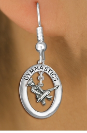 "<bR>                   EXCLUSIVELY OURS!! <BR>              AN ALLAN ROBIN DESIGN!!<BR>                 LEAD & NICKEL FREE!! <BR> W19988E -  SILVER TONE ""GYMNASTICS"" <BR>   OVAL WITH GYMNAST ON POMMEL HORSE <BR>      CHARM ON FISHHOOK EARRINGS <BR>            FROM $9.00 TO $20.00 �2013"