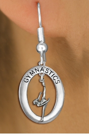 "<bR>                   EXCLUSIVELY OURS!! <BR>              AN ALLAN ROBIN DESIGN!!<BR>                 LEAD & NICKEL FREE!! <BR> W19990E -  SILVER TONE ""GYMNASTICS"" <BR>    OVAL WITH ONE LEG POSED GYMNAST <BR>       CHARM ON FISHHOOK EARRINGS <BR>            FROM $9.00 TO $20.00 �2013"