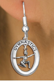 "<bR>                   EXCLUSIVELY OURS!! <BR>              AN ALLAN ROBIN DESIGN!!<BR>                 LEAD & NICKEL FREE!! <BR> W19992E -  SILVER TONE ""GYMNASTICS"" <BR>      OVAL WITH FLOOR POSED GYMNAST <BR>        CHARM ON FISHHOOK EARRINGS <BR>            FROM $9.00 TO $20.00 �2013"