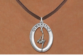 "<bR>                   EXCLUSIVELY OURS!! <BR>              AN ALLAN ROBIN DESIGN!!<BR>                 LEAD & NICKEL FREE!! <BR> W19995N -  SILVER TONE ""GYMNASTICS"" <BR>     OVAL WITH ONE LEG POSE GYMNAST <BR>     CHARM ON BROWN SUEDE NECKLACE <BR>            FROM $6.41 TO $14.25 �2013"