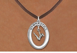 "<bR>                   EXCLUSIVELY OURS!! <BR>              AN ALLAN ROBIN DESIGN!!<BR>                 LEAD & NICKEL FREE!! <BR> W19996N -  SILVER TONE ""GYMNASTICS"" <BR>    OVAL WITH GYMNAST ON UNEVEN BARS<BR>      CHARM ON BROWN SUEDE NECKLACE <BR>            FROM $6.41 TO $14.25 �2013"