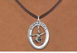 "<bR>                   EXCLUSIVELY OURS!! <BR>              AN ALLAN ROBIN DESIGN!!<BR>                 LEAD & NICKEL FREE!! <BR> W19997N -  SILVER TONE ""GYMNASTICS"" <BR>      OVAL WITH FLOOR POSED GYMNAST <BR>      CHARM ON BROWN SUEDE NECKLACE <BR>            FROM $6.41 TO $14.25 �2013"