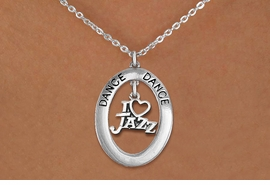 """<bR> EXCLUSIVELY OURS!! <BR> AN ALLAN ROBIN DESIGN!! <BR> LEAD & NICKEL FREE!! <BR> W20037N - SILVER TONE """"DANCE"""" OVAL <BR> WITH SILVER TONE """"I LOVE JAZZ"""" <BR> CHARM ON CHAIN LINK NECKLACE <BR> FOR $6.89"""