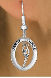 "<bR>                    EXCLUSIVELY OURS!! <BR>               AN ALLAN ROBIN DESIGN!!<BR>                  LEAD & NICKEL FREE!! <BR> W20038E -  SILVER TONE ""DANCE"" OVAL <BR>    WITH SILVER TONE MODERN DANCER <BR>       CHARM ON FISHHOOK EARRINGS <BR>          FROM $8.10 TO $18.00 �2013"