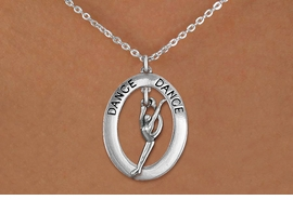 "<bR> EXCLUSIVELY OURS!! <BR> AN ALLAN ROBIN DESIGN!! <BR> LEAD & NICKEL FREE!! <BR> W20039N - SILVER TONE ""DANCE"" OVAL <BR> WITH SILVER TONE MODERN DANCER <BR> CHARM ON CHAIN LINK NECKLACE <BR> FOR $6.89"