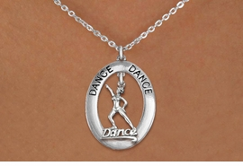 "<bR>                     EXCLUSIVELY OURS!! <BR>                AN ALLAN ROBIN DESIGN!! <BR>                   LEAD & NICKEL FREE!! <BR>   W20041N -  SILVER TONE ""DANCE"" OVAL <BR> WITH SILVER TONE DANCER WITH HAT ""DANCE""<BR>        CHARM ON CHAIN LINK NECKLACE <BR>            FROM $5.85 TO $13.00 �2013"