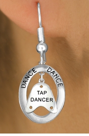 "<bR>                    EXCLUSIVELY OURS!! <BR>               AN ALLAN ROBIN DESIGN!!<BR>                  LEAD & NICKEL FREE!! <BR> W20042E -  SILVER TONE ""DANCE"" OVAL <BR> WITH SILVER TONE ""TAP DANCER"" SHOE TAP <BR>       CHARM ON FISHHOOK EARRINGS <BR>          FROM $8.10 TO $18.00 �2013"