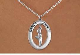 """<bR> EXCLUSIVELY OURS!! <BR> AN ALLAN ROBIN DESIGN!! <BR> LEAD & NICKEL FREE!! <BR> W20047N - SILVER TONE """"DANCE"""" OVAL <BR> WITH SILVER TONE POINTED BALLET SHOE <BR> CHARM ON CHAIN LINK NECKLACE <BR> FOR $6.89"""