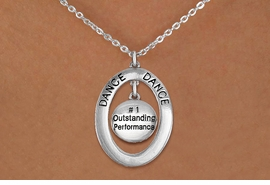 "<bR> EXCLUSIVELY OURS!! <BR> AN ALLAN ROBIN DESIGN!! <BR> LEAD & NICKEL FREE!! <BR> W20049N - SILVER TONE ""DANCE"" OVAL <BR> WITH ""#1 OUTSTANDING PERFORMANCE"" DISK <BR> CHARM ON CHAIN LINK NECKLACE <BR> FOR $6.89"