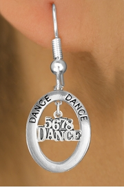 "<bR> EXCLUSIVELY OURS!! <BR> AN ALLAN ROBIN DESIGN!!<BR> LEAD & NICKEL FREE!! <BR> W20050E - SILVER TONE ""DANCE"" OVAL <BR> WITH SILVER TONE ""5678 DANCE"" <BR> CHARM ON FISHHOOK EARRINGS <BR> FOR $9.54"