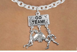 "<Br>               EXCLUSIVELY OURS!! <Br>          AN ALLAN ROBIN DESIGN!! <Br>             LEAD & NICKEL FREE!! <BR> W20120N - SILVER TONE ""GO TEAM!"" <BR> ""I LOVE BASKETBALL, & PLAYER CHARMS <BR>  WOMENS BASKETBALL THEMED PENDANT<BR>  ON LOBSTER CLASP CHAIN NECKLACE <BR>         FROM $7.85 TO $17.50 �2013"