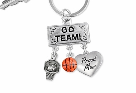 "<Br>                EXCLUSIVELY OURS!! <Br>           AN ALLAN ROBIN DESIGN!! <Br>              LEAD & NICKEL FREE!! <BR> W20121KC - SILVER TONE ""GO TEAM!"" <BR> ""PROUD MOM"", HOOP, AND BALL CHARMS <BR>        BASKETBALL THEMED KEY RING <BR>         FROM $6.41 TO $14.25 �2013"